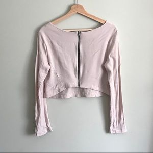LUSH // Cropped Blouse with Zipper in Dusty Blush